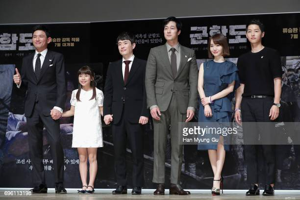 South Korean actors Hwang JungMin Kim SuAn director Ryu SeungWan So JiSub Lee JungHyun and Song JoongKi attend the press conference for 'The...