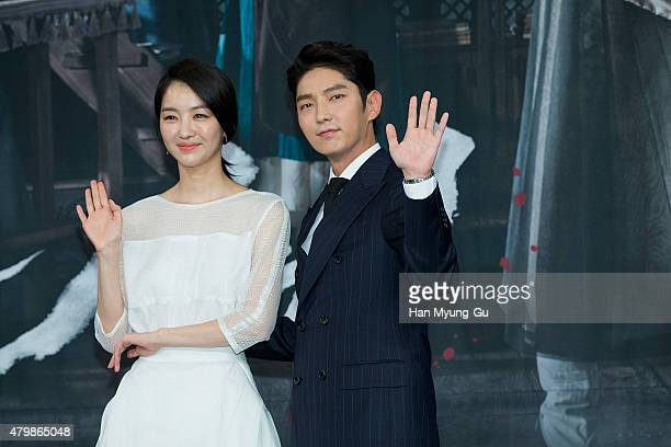 South Korean actors Jang HeeJin and Lee JunKi attend the press conference for MBC Drama 'The Scholar Who Walks The Night' on July 07 2015 in Seoul...