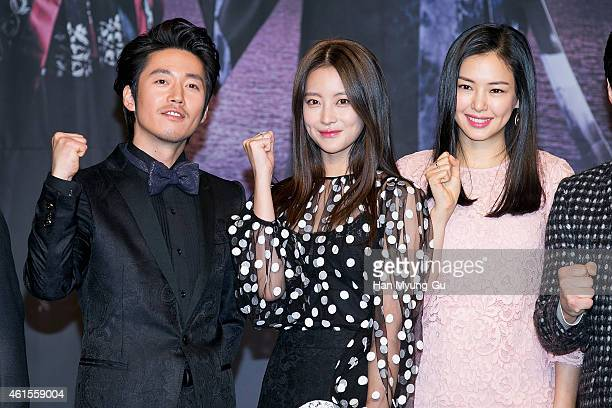 South Korean actors Jang Hyuk Oh YeonSeo and Lee HaNee attend MBC Drama 'Shine Or Crazy' at MBC on January 15 2015 in Seoul South Korea The drama...