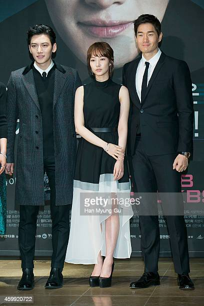 South Korean actors Ji ChangWook Park MinYoung and Yoo JiTae attend the press conference of KBS Drama Healer at the Raum on December 4 2014 in Seoul...
