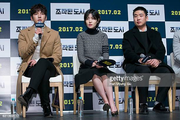 South Korean actors Ji ChangWook Sim EunKyung and Ahn JaeHong attend the 'Manipulated City' Press Conference at CGV on January 9 2017 in Seoul South...