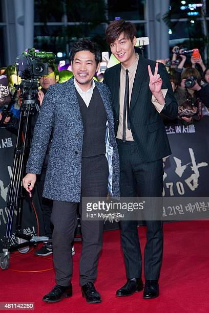 South Korean actors Jung JinYoung and Lee MinHoi arrive the showcase for Gangnam Blues at Times Square on January 6 2015 in Seoul South Korea The...