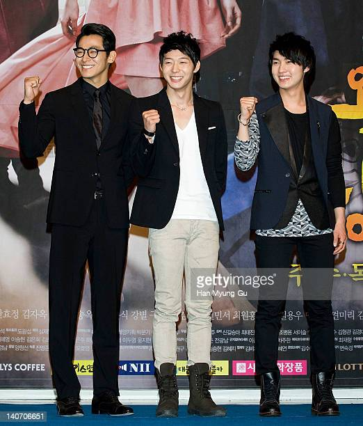 South Korean actors Jung SukWon and Micky of JYJ and Lee MinHo attends a press conference to promote SBS drama 'Rooftop Prince' at Lotte Hotel on...