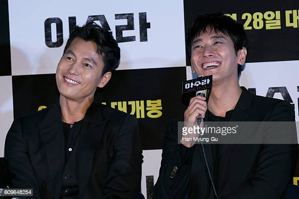 South Korean actors Jung WooSung and Ju JiHoon attend the press screening for ASURAThe City Of Madness on September 21 2016 in Seoul South Korea