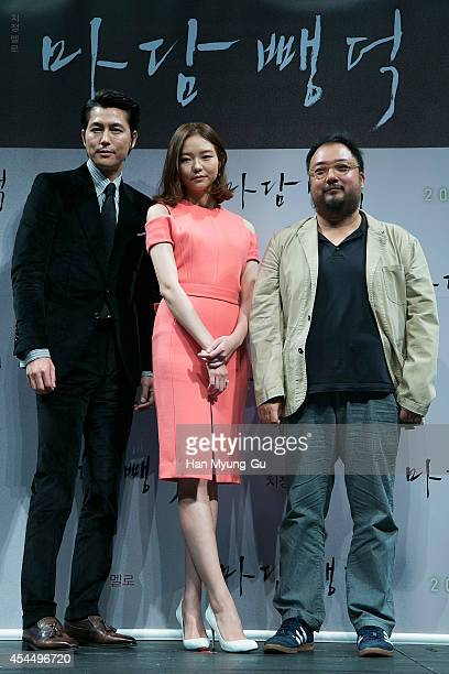 South Korean actors Jung WooSung Esom and director Yim PilSung attend the press conference for 'Scarlet Innocence' at CGV on September 2 2014 in...
