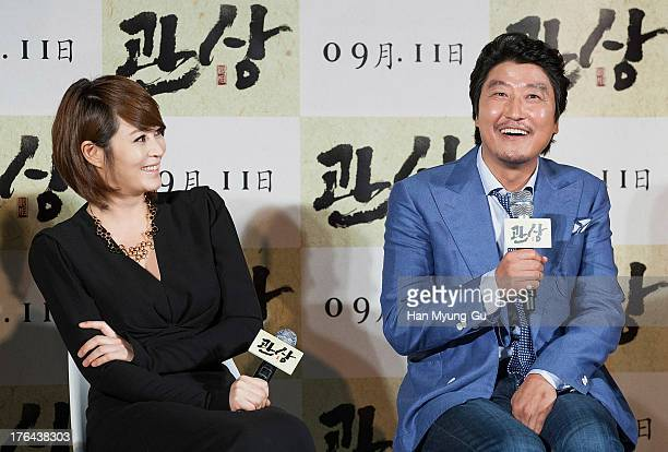 South Korean actors Kim HaeSoo and Song KangHo attend during the The Face Reader press conference at MEGA Box on August 12 2013 in Seoul South Korea...