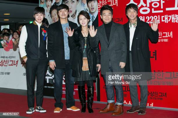 South Korean actors Kim HeeJung Cho SeongHa and Oh ManSeok attend the Miss Granny VIP screening at CGV on January 14 2014 in Seoul South Korea The...