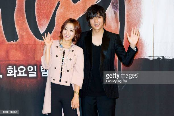 South Korean actors Kim HeeSun and Lee MinHo attend during a press conference to promote the SBS drama 'The Great Doctor' on August 09 2012 in Seoul...