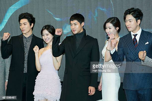 "South Korean actors Kim Jae-Uck, Jin Se-Yeon, Kim Hyun-Joong, Lim Soo-Hyang and Yoon Hyun-Min attend the KBS Drama ""Inspiring Generation"" press..."