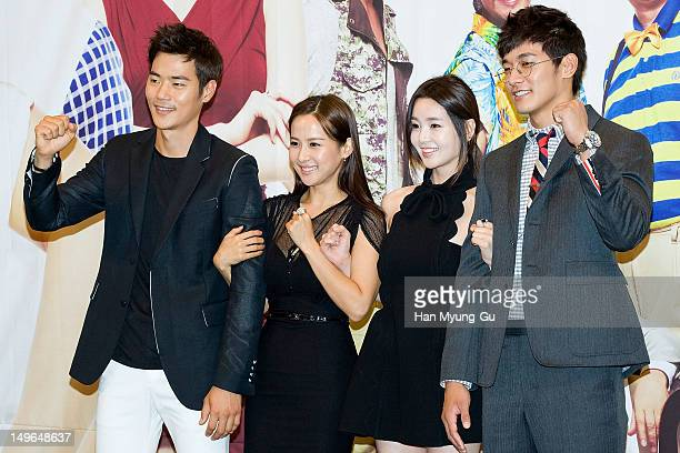 South Korean actors Kim KangWoo Jo YeoJeong Nam GyuRi and Jung SukWon attend during a press conference to promote the KBS drama 'Haeundae Lovers' at...