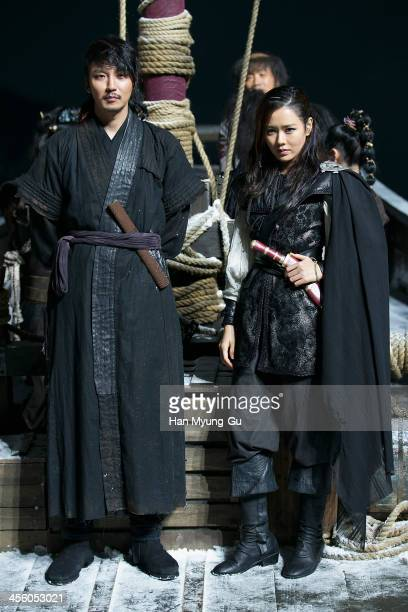 South Korean actors Kim NamGil and Son YeJin are seen on location for 'The Pirates' on December 12 2013 in Namyangju South Korea