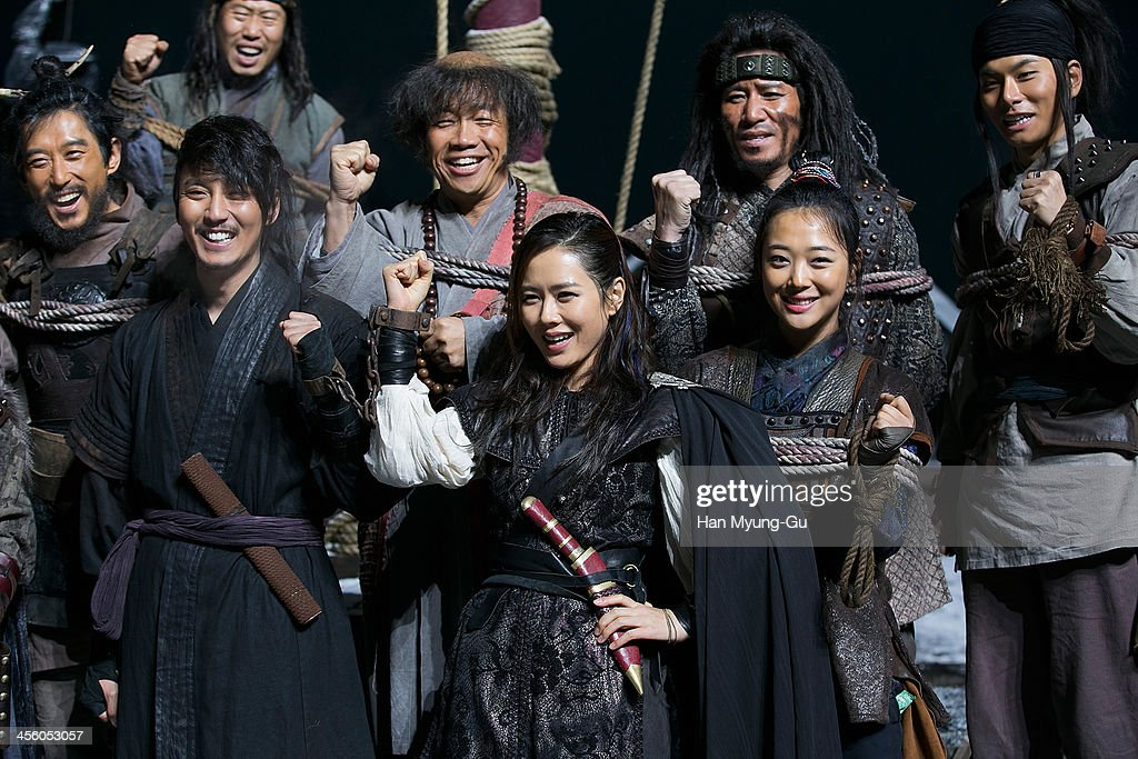 South Korean actors Kim Nam-Gil, Son Ye-Jin and Sulli of girl group f(x) are seen on location for 'The Pirates' on December 12, 2013 in Namyangju, South Korea.