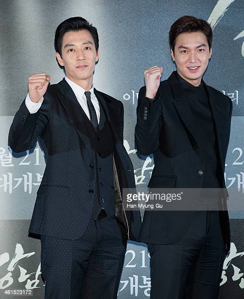 South Korean actors Kim RaeWon and Lee MinHo attend the press screening for Gangnam Blues at CGV on January 13 2015 in Seoul South Korea The film...
