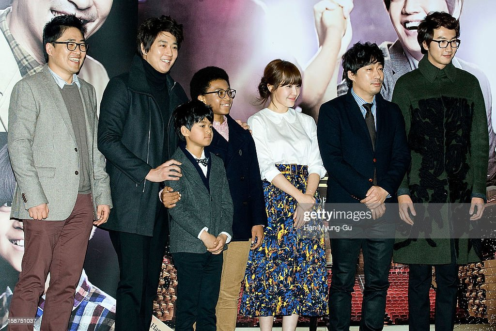 South Korean actors Kim Rae-Won, Ji Dae-Han, Hwang Yong-Yon, Cho Ahn (Jo An), Lee Sung-Min, Lee Kwang-Soo and director Kim Sung-Hoon (L) attend the 'My Little Hero' press screening at CGV on December 27, 2012 in Seoul, South Korea. The film will open on Janeary 10, 2013 in South Korea.