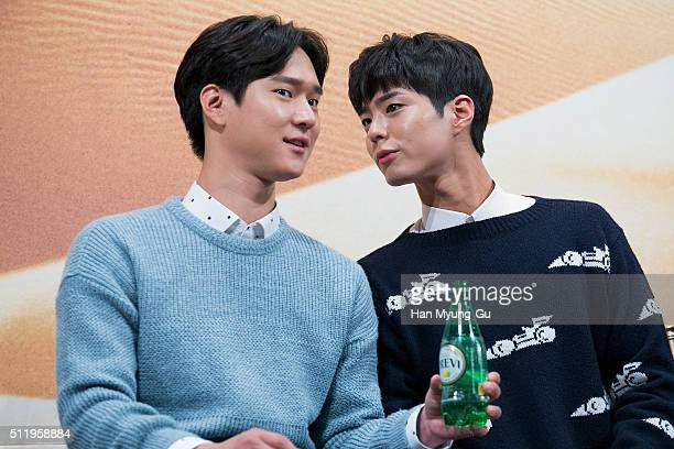 South Korean actors Ko KyungPyo and Park BoGum attend the tvN 'Youth Over Flowers In Africa' press conference on February 18 2016 in Seoul South...