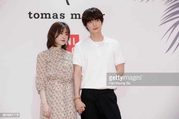 South Korean actors Ku HyeSun and Ahn JaeHyun attend the photocall for the 'Uniqlo' tomas maier collection launch on May 31 2018 in Seoul South Korea