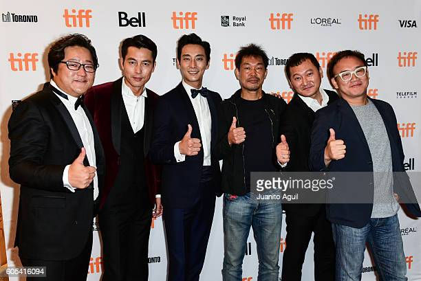 South Korean Actors Kwak DoWon Jung WooSung Ju JiHoonProducer Han JaeDuk Actor Jeong ManSik and Director Kim SungSu attend the 'AsuraThe City Of...