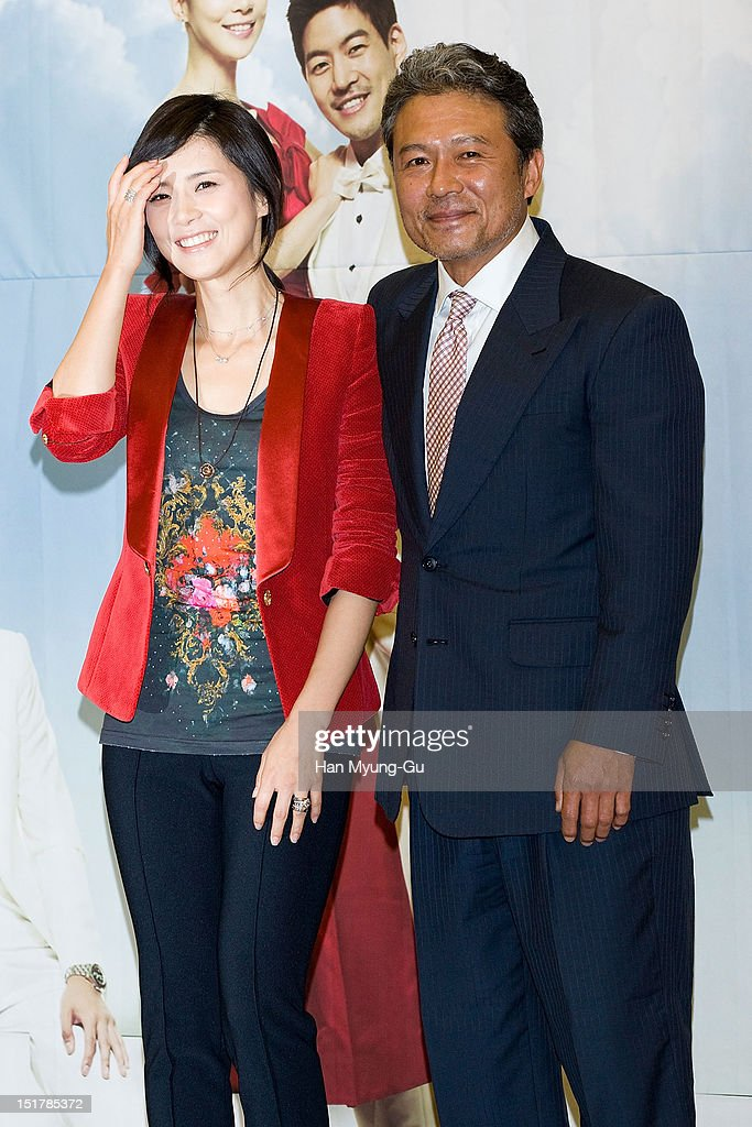 South Korean actors Lee Bo-Young and Chun Ho-Jin (Cheon Ho-Jin) attend during a press conference to promote the KBS drama 'My Daughter, Seoyoung' on September 11, 2012 in Seoul, South Korea. The drama will open on September 15 in South Korea.