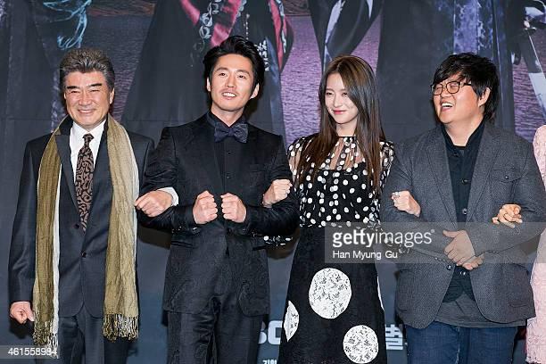 South Korean actors Lee DukHwa Jang Hyuk Oh YeonSeo and producer Son HyungSuk attend MBC Drama 'Shine Or Crazy' at MBC on January 15 2015 in Seoul...