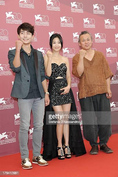 South Korean actors Lee Eunwoo and Seo Youngju and South Korean director Kim KiDuk attend Moebius Photocall during the 70th Venice International Film...