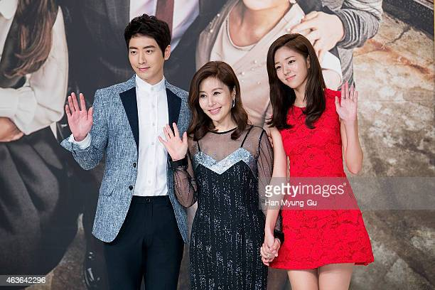 """South Korean actors Lee Jun-Hyuk, Choi Myoung-Gil and Chae Su-Bin attend the press conference for KBS drama """"The House of Blue Bird"""" on February 16,..."""