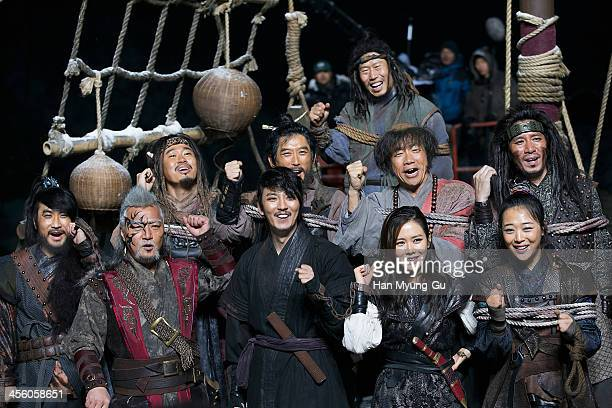 South Korean actors Lee KyungYoung Kim NamGil Son YeJin and Sulli of girl group f are seen on location for 'The Pirates' on December 12 2013 in...