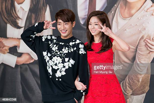 """South Korean actors Lee Sang-Yeob and Chae Su-Bin attend the press conference for KBS drama """"The House of Blue Bird"""" on February 16, 2015 in Seoul,..."""