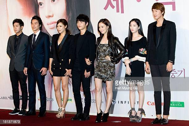 South Korean actors Lee SangYeob Kim TaeHoon Park SiYeon Song JoongKi Moon ChaeWon Lee YuBi and Lee KwangSoo attend during a press conference to...