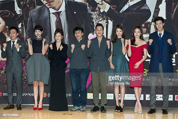 South Korean actors Lee SungMin Song SunMi Lee MiSook Lee SunKyun Lee YeonHee Ko SungHee and Lee KiWoo attend the MBC Drama Miss Korea press...