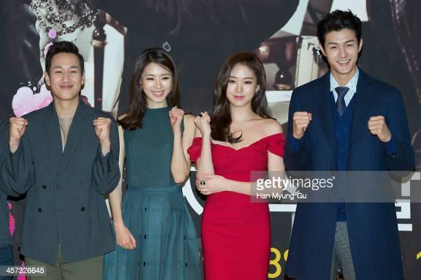 South Korean actors Lee SunKyun Lee YeonHee Ko SungHee and Lee KiWoo attend the MBC Drama Miss Korea press conference at Patio 9 on December 16 2013...