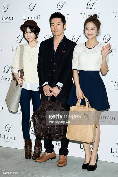 South Korean actors Lee YouBi and Jang Hyuk and Cho Boa attends the L'inoui New Flagship Store Opening at L'inoui Store on April 4 2012 in Seoul...