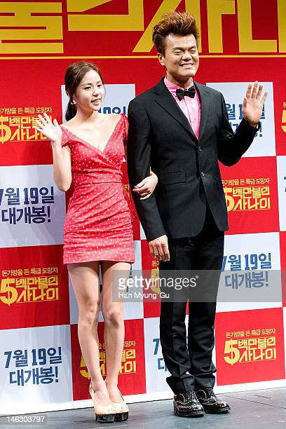 """South Korean Actors Min Hyo-Rin and producer Park Jin-Young of JYP attend the """"A Millionaire On The Run"""" Showcase on June 13, 2012 in Seoul, South..."""