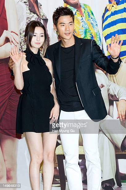 South Korean actors Nam GyuRi and Kim KangWoo attend during a press conference to promote the KBS drama 'Haeundae Lovers' at Imperial Palace Hotel on...