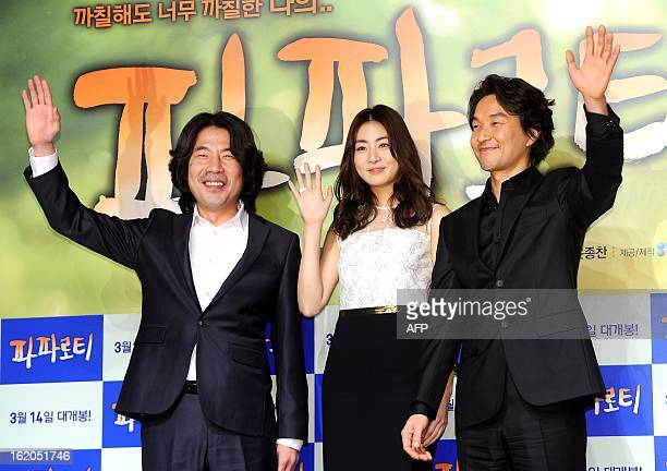 South Korean actors Oh DalSu Han SukKyu and actress Kang SoRa attend a press conference for new film My Paparotti in Seoul on February 18 2013...