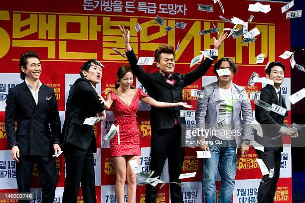 """South Korean actors Oh Jung-Se,Cho Hee-Bong,Min Hyo-Rin,producer Park Jin-Young of JYP,Cho Seong-Ha and director Kim Ik-Roh attend the """"A Millionaire..."""
