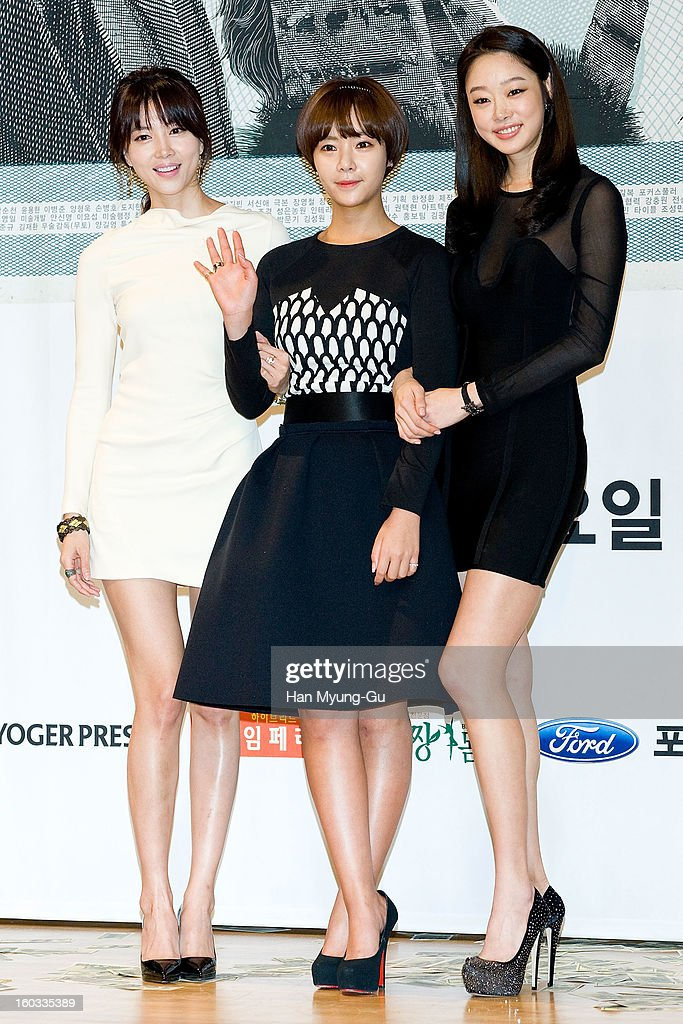 South Korean actors Oh Yoon-Ah, Hwang Jung-Eum and Choi Yeo-Jin attend the SBS Drama 'Incarnation Of Money' Press Conference at SBS on January 29, 2013 in Seoul, South Korea. The movie will open on February 02 in South Korea.