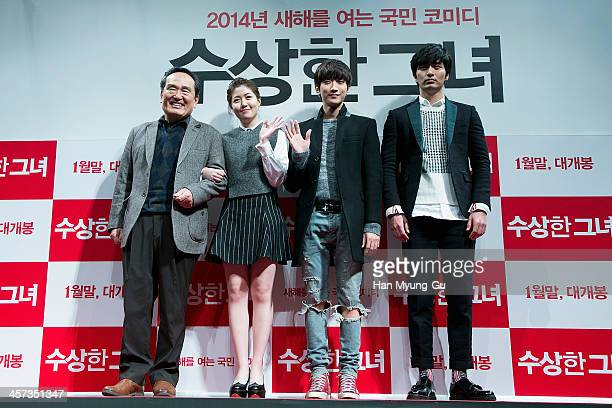 South Korean actors Park InHwan Sim EunKyung Jinyoung of South Korean boy band B1A4 and Lee JinWook attend the Miss Granny press conference at CGV on...