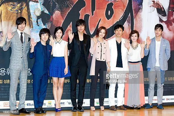 South Korean actors Philip Lee Ryu DukHwan Park SeYeong Lee MinHo Kim HeeSun Yu OhSeong Shin EunJeong and Sung Hun attend during a press conference...