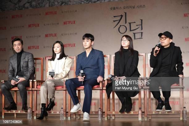 South Korean actors Ryu SeungRyong Bae DooNa Ju JiHoon writer Kim EunHee and director Kim SungHoon attend the Netflix 'Kingdom' press conference on...