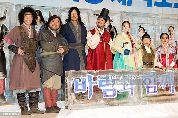 South Korean actors Shin Jung-Geun, Ko Chang-Seok, Oh Ji-Ho, Cha Tae-Hyun, Min Hyo-Rin, Chun Bo-Geun and Kim Hyang-Gi attend a press conference to...