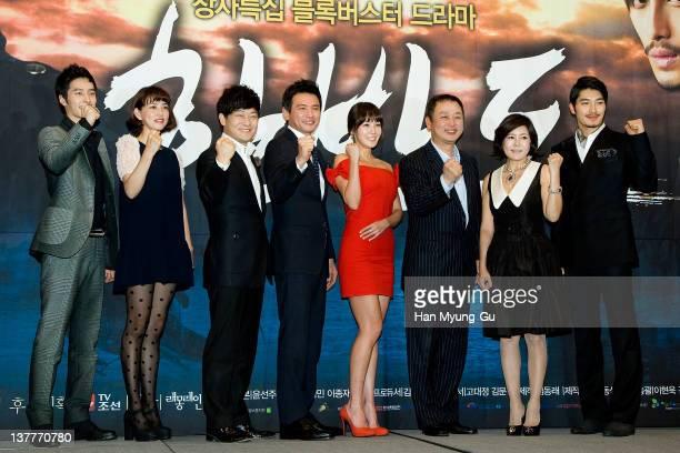 South Korean actors Si Hoo and Cho YJin and Cho SeongHa and Hwang JungMin and Kim JungEun and Kim JiSook and Kwak HeeSung and producer Lee HyungMin...