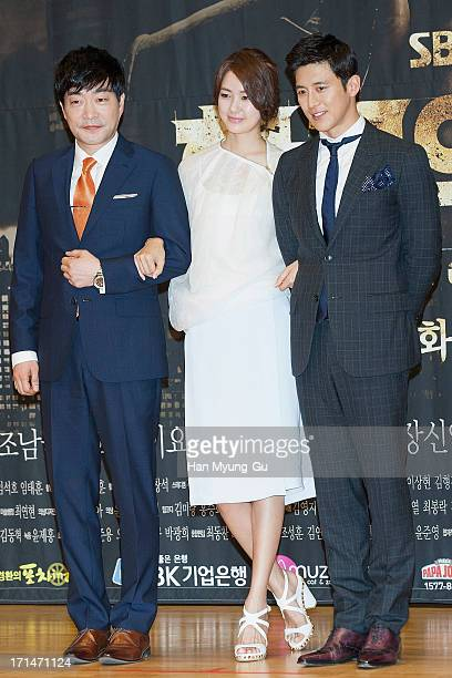 South Korean actors Son HyunJoo Lee YoWon and Ko Soo attend during the SBS Drama 'Empire of Gold' press conference on June 25 2013 in Seoul South...