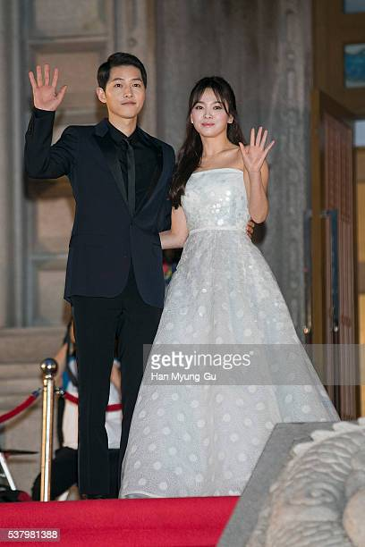 South Korean actors Song HyeKyo and Song JoongKi attend the 52th Paeksang Arts Awards on June 3 2016 in Seoul South Korea