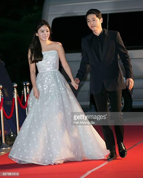 South Korean actors Song HyeKyo and Song JoongKi attend the 52th Paeksang Arts Awards on June 3 2016 in Seoul South Korea