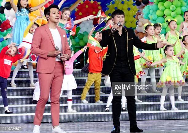 South Korean actor/singer Rain and singer Jason Zhang Jie perform onstage during a dress rehearsal for Asian Culture Carnival on May 12, 2019 in...