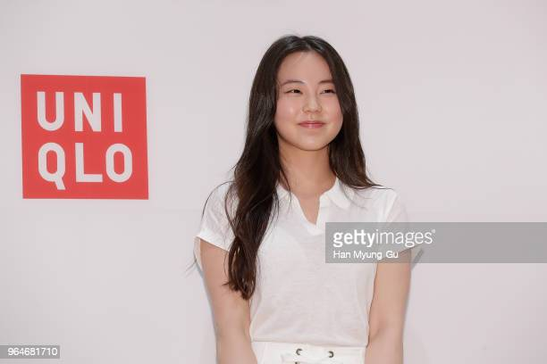 South Korean actress Ahn SoHee attends the photocall for the 'Uniqlo' tomas maier collection launch on May 31 2018 in Seoul South Korea