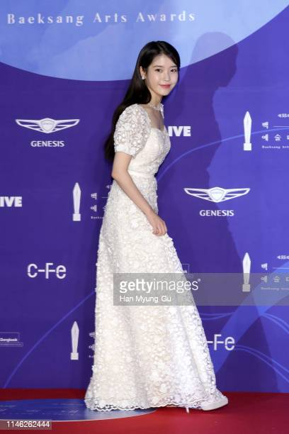 South Korean actress and singer IU attends the 55th Baeksang Arts Awards at COEX D Hall on May 01 2019 in Seoul South Korea