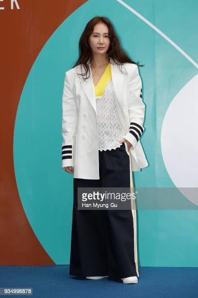 South Korean actress Chae SiRa attends the photocall for the Caruso show during the HERA Seoul Fashion Week F/W 2018 at DDP on March 20 2018 in Seoul...