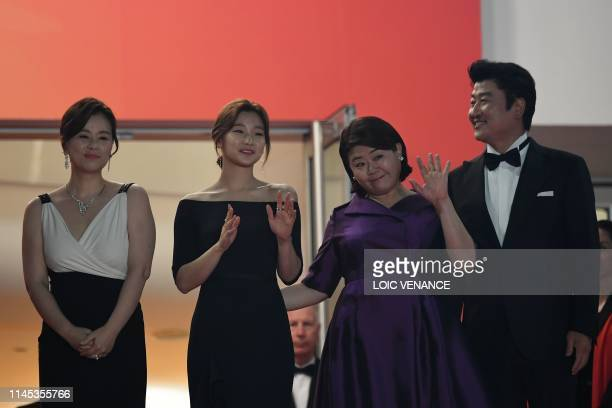 South korean actress Chang Hyaejin South Korean actress Park Sodam South Korean actress Lee JungEun and South Korean actor Kangho Song arrive for the...