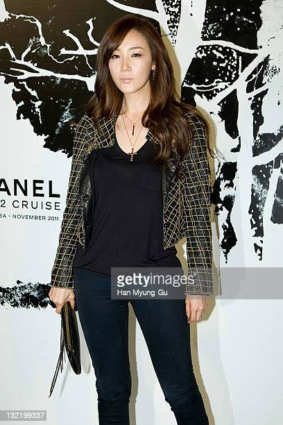 South Korean actress Choi JiWoo arrives for the 2011/12 Cruse Collection by Chanel at AXKorea on November 10 2011 in Seoul South Korea Models...